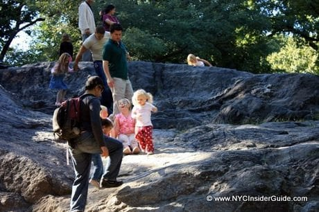 Climbing Rocks in Central Park NY