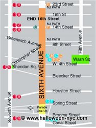 Halloween in New York City - Village Parade Map, Parties, Cruise, Show
