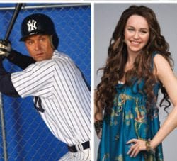Madame Tussauds Wax Museum Derek Jeter and Miley Cyrus