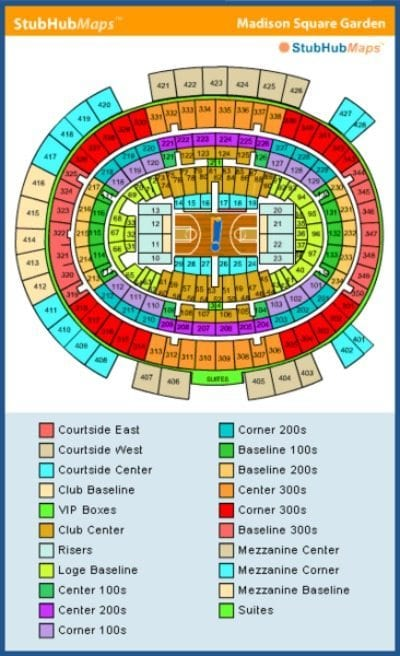 New York Knicks MSG Seating Chart