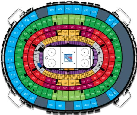 New York Rangers MSG Seating Chart