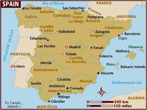 Spain Travel Guide Map
