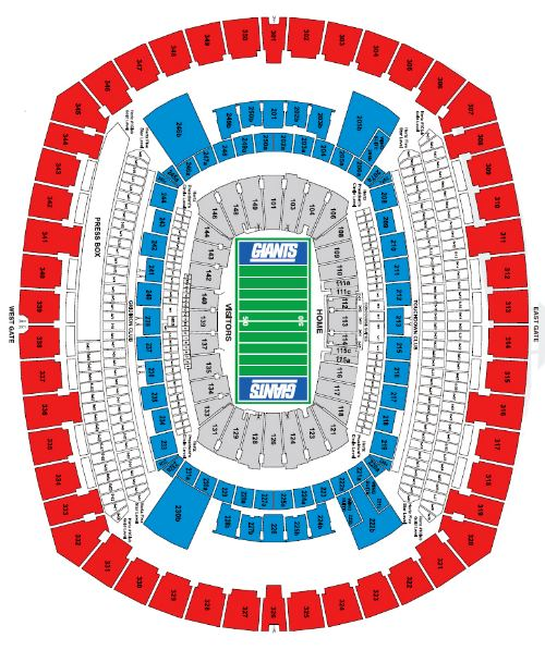 Giants Stadium Seating Chart