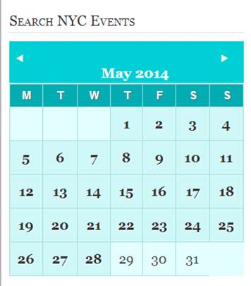 NYC Insider Searchable Events Calendar