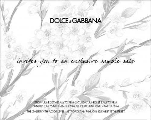 Dolce & Gabbana Sample Sale