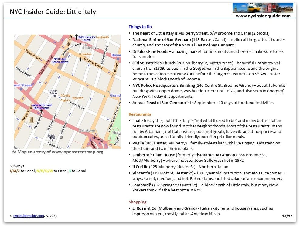 Little Italy NYC Printable Map