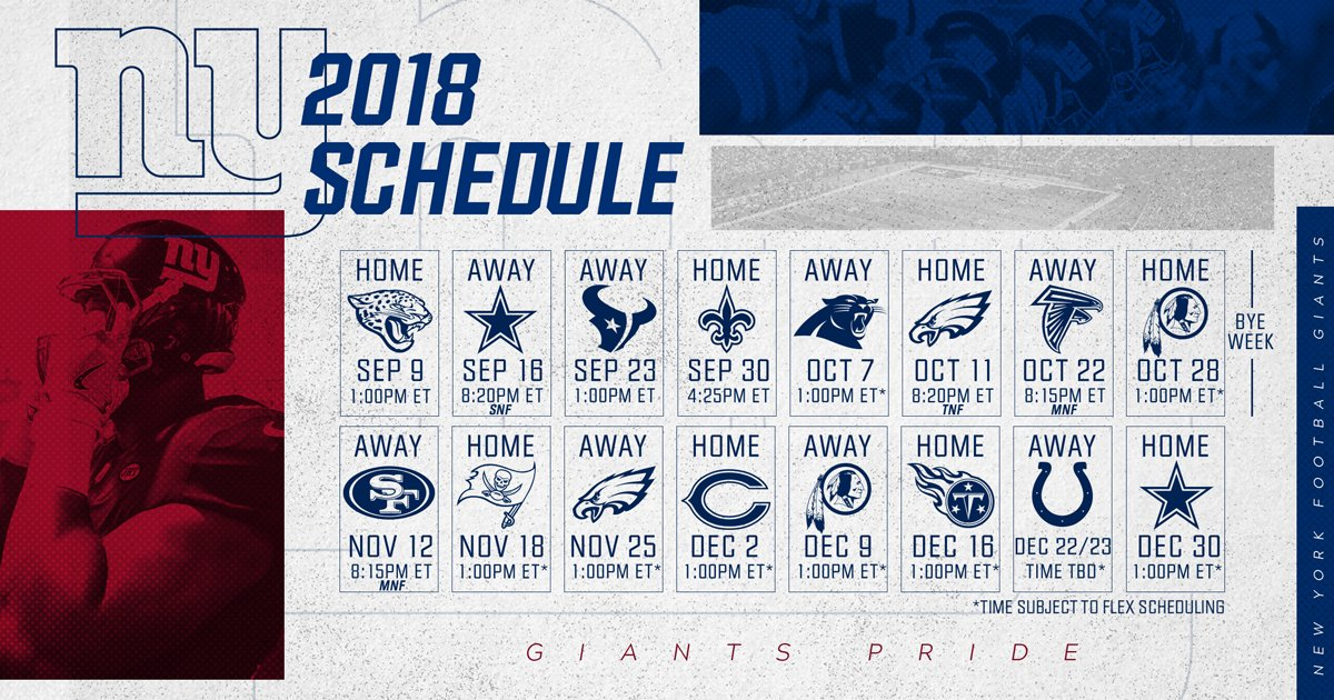 New York Giants Schedule 2018