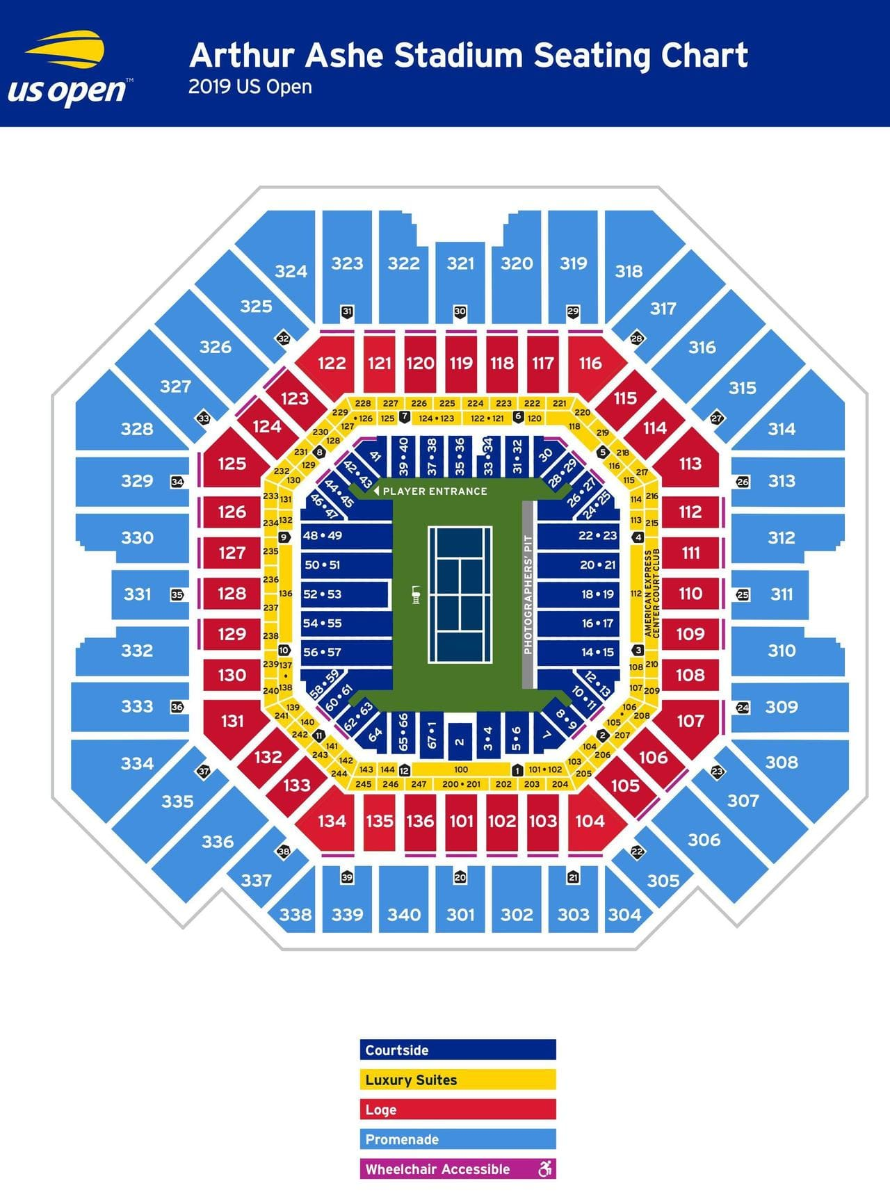 US Tennis Open Arthur Ashe Seating Chart