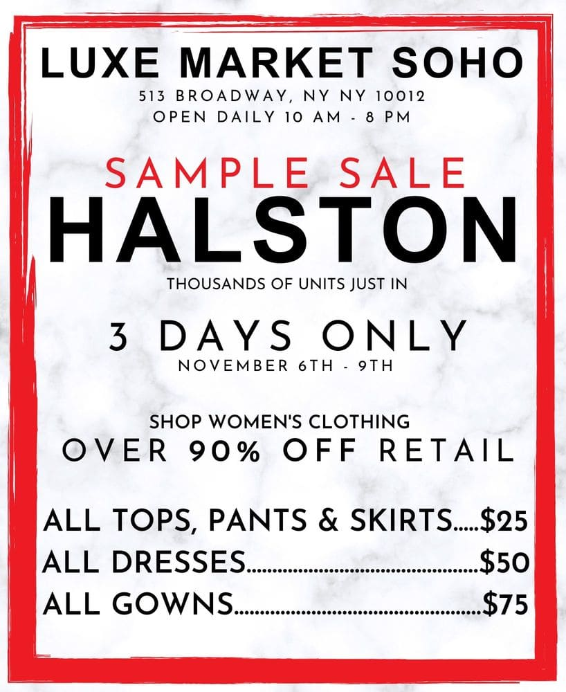 Halston Sample Sale At Luxe Market Soho