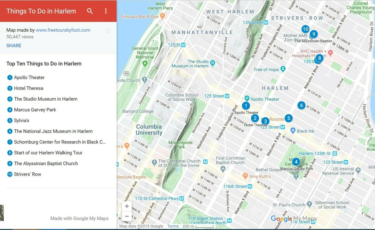 Harlem Things to Do Map NYC