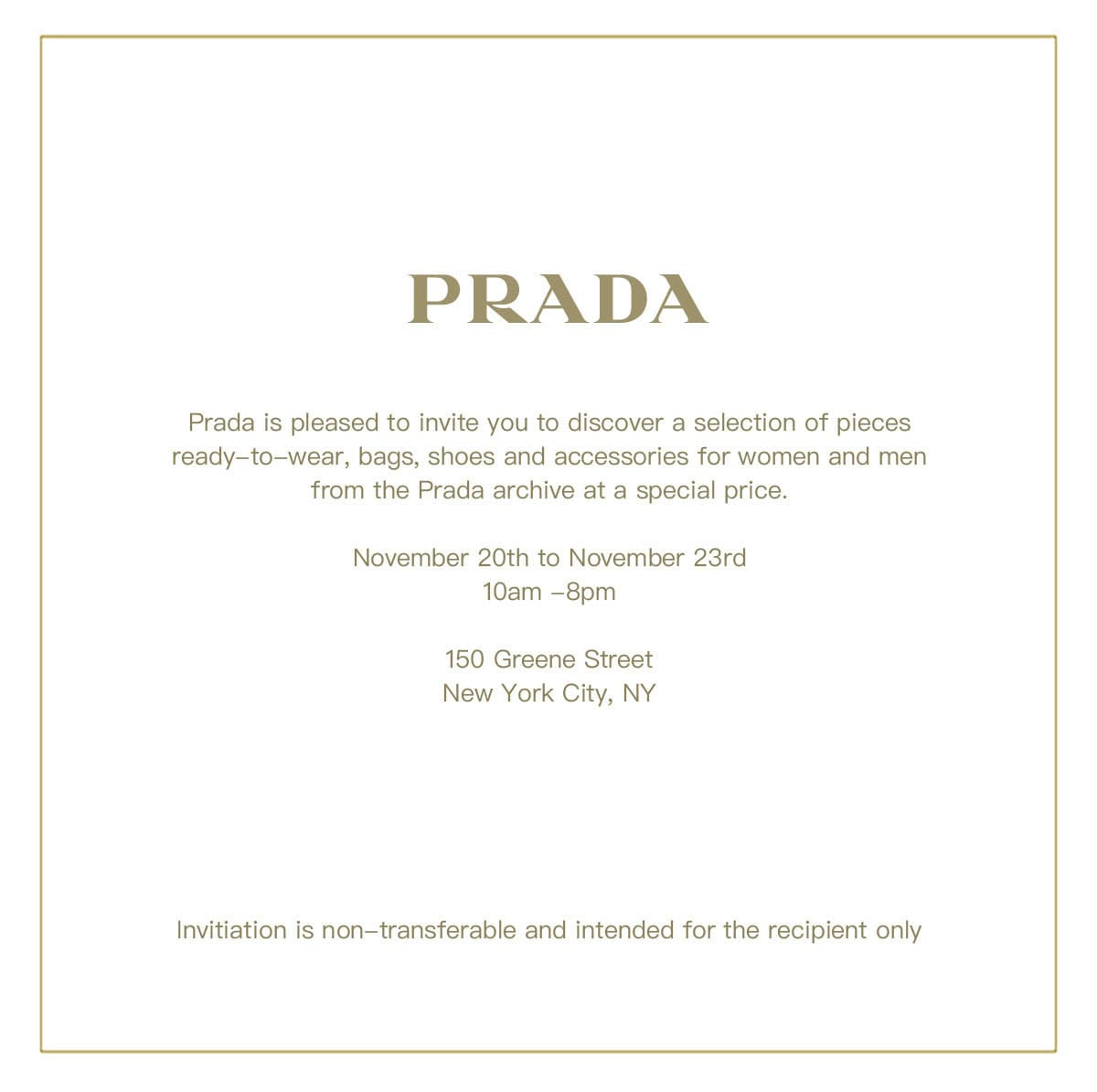 Prada Sample Sale Invitation